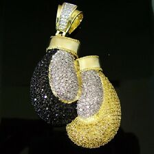 $399 NEW 14K Gold GP BOXING GLOVES YELLOW/BLACK Simulate Diamond CUSTOM PENDANT!