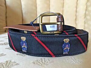 Polo Ralph Lauren Men Denim Bear Needlepoint Waist Belt NAVY
