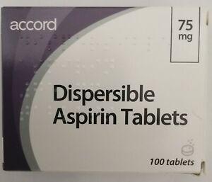 "100 Dispersible Aspirin 75mg ""LOW DOSE"""