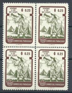 Paraguay 1962 Sc# 640 Scout Bugler 25c block 4 MNH