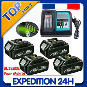 Batterie Pour Makita 18V 5Ah BL1850B BL1860B BL1840B BL1830B LED DC18RC Chargeur