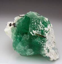 Impressive Large Green Fluorite with Elbaite, Albite and Tantalite - Pakistan!