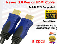 2pcs 6FT HDMI v2.0 HIGH Speed with ETHERNET Cable 24K GOLD Plated-4K X 2K XBOX