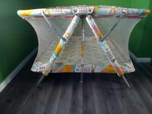 Vintage Hollie Hobbie 70s Square Mesh Folding PlayPen Play Yard 40x40