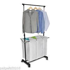 Homz Adjustable Laundry Center Sorter Hamper Silver/Black