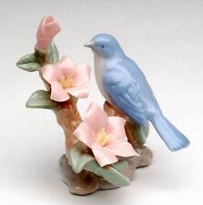 New FINE PORCELAIN Figurine PINK AZALEA BLUEBIRD Statue Figure FLOWER PLANT