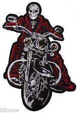 "Skeleton on Motorbike (Red/Black) Back patch 36.5cm x 24cm ( 14 1/2 x 91/2"")"