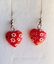 Beautiful Ruby Red Millefiori Heart Drop Earrings