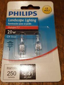 Philips 417204 Landscape Lighting 20W T3 12-Volt Bi-Pin Base Light Bulb, 2-Pack