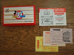 NINTENDO GAME AND & WATCH Mickey & Donald w/ Manual Booklet & Papers 1982 JAPAN