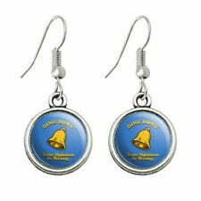 Humor Novelty Dangling Drop Charm Earrings Ding Dong Your Opinion is Wrong Funny
