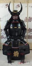 Japonesa del hierro y seda portátil Rüstung Samurai Armor Negro casco claxon