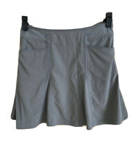 TITLE NINE Flare Skirt Sz 4 Gray Invisible Side Zip Pocket Stretch Recycled Poly