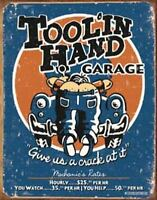Garage Mechanic Tool In Hand Service Station Retro Tin Metal Sign 13 x 16in