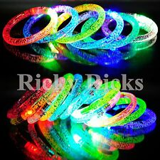 12 PCS Light-Up Bracelets Thick Acrylic Wristbands LED Flashing Bands Rave EDC