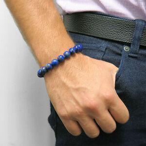 """Men's Beaded Bracelet Genuine Blue Lapis 8"""""""