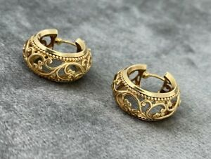 9ct Yellow Gold Ladies Vintage Style Patterned Hoop Earrings Hallmarked 375