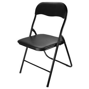 Nyxi Folding Chair Padded Paris Faux Leather Chair Home Office Dining 6 X Chairs, Black