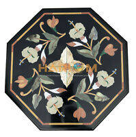 """16"""" Black Marble Coffee Table Top Multi Floral Marquetry Inlay Home Decors B152"""