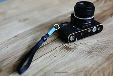 Sky blue 11mm black Handmade Leather camera wrist strap Generic Rangefinder