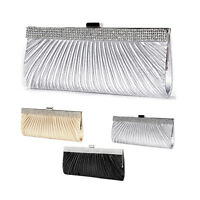 SATIN CRYSTAL DIAMANTE EVENING CLUTCH BAG WOMENS WEDDING BRIDAL PROM HANDBAG