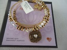 Alex and Ani MOM SET OF 3 Bangles Russian Gold New W/ Tag Card & Box