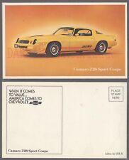 Lamanated Salesman Promo Postcard 1980 Chevrolet Z28 Camaro 743049
