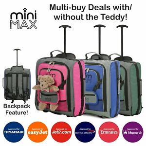 MiniMAX Childrens Kids Cabin Hand Luggage Travel Trolley Backpack Bag Teddy Hold