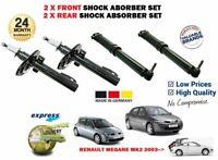 Per Renault Megane MK2 2003-2008 Nuovo 2X Anteriore E 2X Ammortizzatore Post Set
