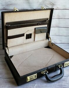 Genuine Leather Hard Shell Briefcase, Brown, Combination Lock