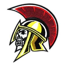 Gladiator Skull Embroidered Iron on Patch Army Applique King of Sparta skeleton