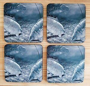 Set Of 4 X Matching Carp Coasters, Great Gift