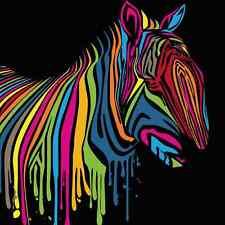 Coloful Home Decor ,Art Canvas Print, Modern Oil Painting Rainbow Zebra 16x16