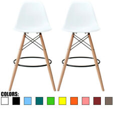 """Set of 2 Clear 25"""" Seat Height Eames Stool Plastc Chair DSW Molded Barstool"""