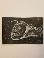Angler Fish Ink Drawing 4x6