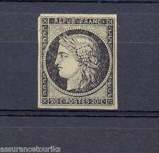 FRANCE - 1849 YT 3 - TIMBRE NEUF(*) - 20c NOIR S. JAUNE