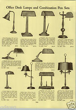 1933 PAPER AD Office Desk Lamps Green Etched Variegated Shade Adjustable Pen Set