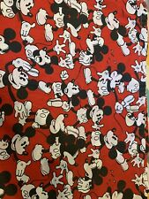Vintage Disney Mickey Mouse Twin Flat Sheet Material Collectors Bedding Craft