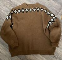 Vintage Jaeger Wool Jumper XXL 44 Inch Chest  Tan Brown 100% Wool