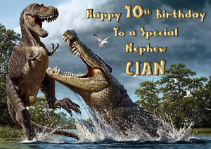 Jurassic World Dinosaurs - A5 Personalised Birthday Card - ANY Age Relation Name