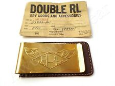 New Ralph Lauren RRL Dark Brown Leather & Metal Logo Money Clip Wallet