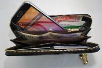 Ladies Leather Purse Wallet Organiser Zip Around Concertina Black Colour