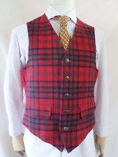 PENDLETON true vintage red tartan plaid wool made USA waistcoat vest 40