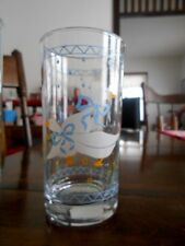 Farm Country Goose Highball Tumblers Glass 12 oz. Anchor Hocking Blue White !