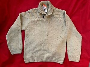 New Gymboree Boys 10 12 year L Large Beige Knit Sweater Pull Over Top Cotton NWT