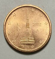 2002 Italy 2 Cents Euro Circulated Cooper Plated Steel Coin  (3172)