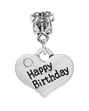 Happy Birthday Rhinestone Heart Present Gift Dangle Charm for European Bracelets