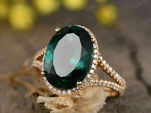 3.50Ct Oval Cut Green Emerald Diamond Halo Engagement Ring 14K Rose Gold Finish