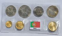 PORTUGAL SET LAST ESCUDOS 7 DIFFERENT COINS YEAR 2001 BU