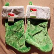 2-SET PLUSH GREEN CHRISMAS STOCKINGS Holiday Decoration Solid Classic Child NEW